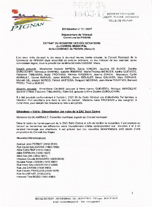 Ville De Pignan Hérault 34570 Délibérations Du Conseil